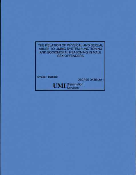 The Relation of Physical and Sexual Abuse to Limbic System Functioning and Sociomoral Reasoning in Male Sex Offenders